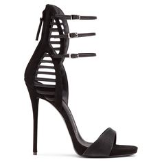 The minimalist detailing on the front of these shoes - a single strap across the foot, and a row of three buckled straps above the ankle - draw all the focus onto the geometric pattern that climbs the leg at the back. Crafted from black laminated fabric, this is a powerful, provocative design.