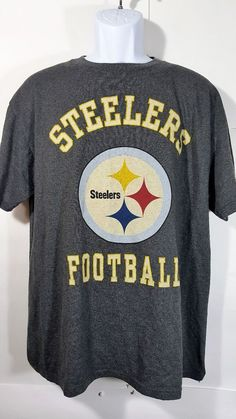 NFL Pittsburgh Steelers Football Large Team Apparel Gray Logo T-shirt  Cotton Ble 4f2615436