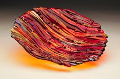 "Sunset Wave Series 10"" Bowl. Made by and Available at Prairie Glass Studio in Topeka, KS"