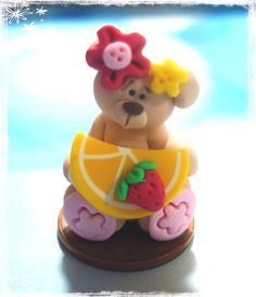 *POLYMER CLAY ~  Bear with Lemon Slice Polymer Clay Charm Bead, Scrapbooking, Bow Center, Dangle
