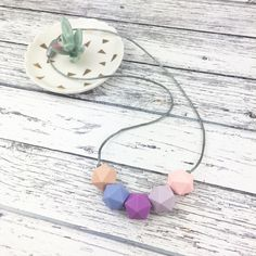Teething beads, Teething necklace for mum, nursing necklace, teething necklace, silicone necklace, teething jewellery, teether, baby shower. by SebandRoo on Etsy