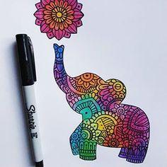 No photo description available. Doodle Art Drawing, Zentangle Drawings, Mandala Drawing, Cool Art Drawings, Zentangle Patterns, Art Drawings Sketches, Mandala Doodle, Easy Drawings, Pencil Drawings