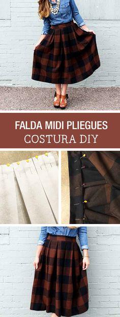 Tutorial DIY - CÓMO HACER UNA FALDA MIDI CON PLIEGUES en DaWanda.es