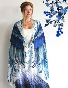 Blue Women silk cotton scarf Hand painted printed Wings by Shovava, $68.00