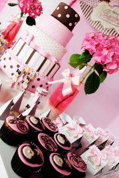 While this is actually a princess party, ideas could be used for a pink and brown shower.