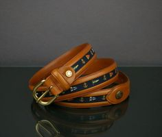 PAUL & SHARK LEATHER CANVAS NAUTICAL BELT MADE IN ITALY VGC