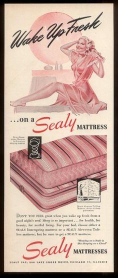 Vintage Sealy Mattress Bed Sleeping Woman Bedroom Furniture Home Ad Vintage Ads, Vintage Prints, Mid Century Bedroom, Sleeping Women, Woman Bedroom, Furniture Ads, Girls Selfies, Old Ads, Bed Mattress