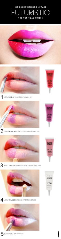 This is great! Makes me want to paint some lips!!! The Vertical Ombre Lip HOW TO. #OCC #Sephora #ombre #makeup