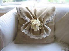 pillow cover made out of burlap with crocheted edging-chic!