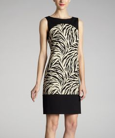 Take a look at this Black & Taupe Zebra Dress by Muse on #zulily today! $45 !!
