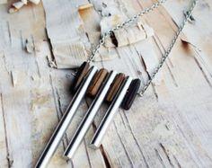 Bohemian wood Jewelry   ... Necklace Wood beads Wooden Beads Tribal Boho Musical Hippie Bohemian