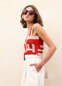 Snapper Crochet Crop Top in Red and Ivory by Rachel Comey – The Frankie Shop Crochet Top Outfit, Crochet Clothes, Crochet Crop Top, Crochet Bikini, Crochet World, Modern Crochet, Crop Top Bikini, Rachel Comey, Crochet Fashion