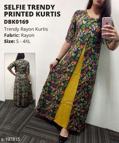 Kurtis & Kurtas Women's Botanical Printed Rayon Kurti Fabric: Kurti - Rayon Sleeves: Sleeves Are Included Size (Bust): S,M,L,XL,XXL,3XL,4XL (Refer Size Chart) Type: Stitched Description: It Has 1 Piece Of Kurti  Work: Printed Sizes Available: S, M, L, XL, XXL, XXXL, 4XL, 5XL, 6XL, 7XL   Catalog Rating: ★4.3 (9483)  Catalog Name: Women'S Printed Rayon Kurtis CatalogID_20033 C74-SC1001 Code: 078-197815-
