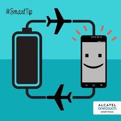 """#SmarTips¿Eres de esos que usa tanto su smartphone durante el día que no te alcanza la batería? Te damos la solución: Pon tu celular en """"Modo avión"""" cuando no necesites estar conectado y tu batería rendirá por horas y horas."""