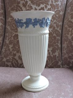 Wedgwood Eturia 10 Vase Tall Queensware Lavender on Cream England Blue Grapevine Pattern Tall Vases, Creamy White, Wedgwood, Grape Vines, Gifts For Him, Lavender, England, Unisex, Tableware