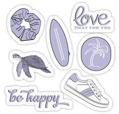Blue Pack stickers featuring millions of original designs created by independent artists. Homemade Stickers, Diy Stickers, Printable Stickers, Laptop Stickers, Sticker Ideas, Tumblr Stickers, Flower Doodles, Purple Aesthetic, Aesthetic Stickers