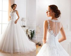 2015 Sexy Illusion Jewel Neckline A-Line Sheer Wedding Dresses Beaded Lace Fluffy Backless Wedding Gowns Princess Ball Gown Wedding Dresses - Wedding Ideas Sheer Wedding Dress, 2015 Wedding Dresses, Backless Wedding, Bridal Dresses, Gown Wedding, Lace Wedding, 2017 Wedding, Dresses 2016, Bridesmaid Dresses