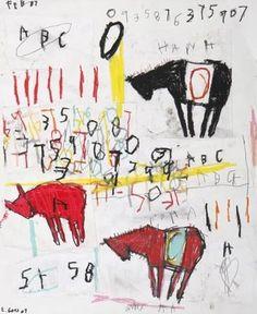 """Edward Goss, """"Horses"""".  Chalk pastel on paper, sig"""