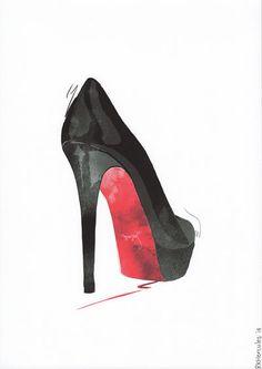 Negro y rojo Christian Louboutin tacones altos ilustración por RKHercules | Moda arte, arte de la pared, arte acuarela, Art Print, decoración del hogar