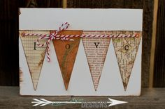 Jessica Elyse Designs: LOVE Banner Card in White, Baker's Twine, vintage - for sale by Jessica Elyse Designs
