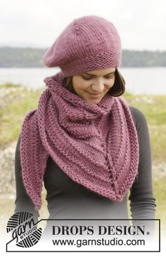 """Winter Blush - Knitted DROPS beret and shawl in garter st and stockinette st in """"Eskimo"""" or """"Andes"""". - Free pattern by DROPS Design Drops Patterns, Shawl Patterns, Knitting Patterns Free, Free Knitting, Free Pattern, Drops Design, Knitted Beret, Knitted Shawls, Crochet Hats"""