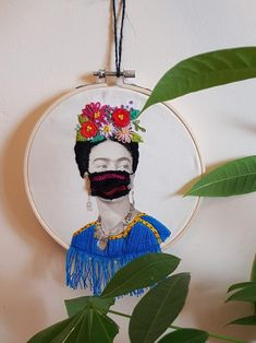 Available on Etsy shop! Frida Kahlo Embroidery Hoop , photo embroidery, personalized Art, Gift, Present, Detailed, Modern Art, Covid art, Portrait, Floral Portrait Something To Remember, Lovers Art, House Warming, Seed Beads, Hoop, Presents, Colours, Etsy Shop, Embroidery