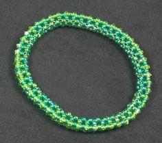 Green Bangle Bracelet Swarovski Crystal Beaded by VioletJewelry, $44.00