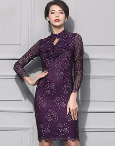 #VIPme  Purple Keyhole Neck Cut-out Lace Bodycon Dress. VIPme.com offers quality Purple, BAOYAN Bodycon Dresses at affordable prices.