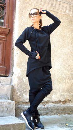 NEW Autumn Black Extravagant Asymmetric Cotton by Aakasha on Etsy