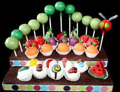 The Very Hungry Caterpillar Cake Pop Display @Melissa Csenge -- I should make this for your classroom!!
