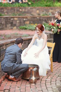#ceremony feet washing Photography: Paperlily Photography   Read More: http://www.stylemepretty.com/2014/01/20/oak-hill-the-martha-berry-museum-wedding/