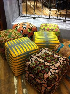 african print footstools  we likey!  http://africafashionguide.tumblr.com/