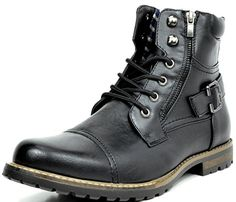 Bruno MARC PHILLY-3 Men's Formal Classic Cap Toe Vintage Laced Up Side Zipper Military Combat Boots Black Size 11