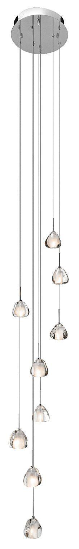 elan 83048 Eisa 9-Light Pendant with Flame Polished Clear Optic Crystal Glass, Chrome Finish - - Amazon.com