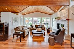 Living Room with Vaulted Ceiling - transitional - living room - vancouver - My House Design Build Team