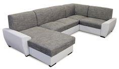 Moderná rohová sedačka do tvaru písmena U, skvele vynikne v obývacej izbe a dokonale sa hodí k ostatnému nábytku. Je celočalúnená koženkou a šenilom. Na výber máte z troch farebných prevedení: biela + sivá, čierna + sivá, hnedá + svetlohnedá. Jednoduchým pohybom ju rozložíte, čím vznikne veľká plocha spania, na ktorej sa pohodlne vyspia aj dve osoby.