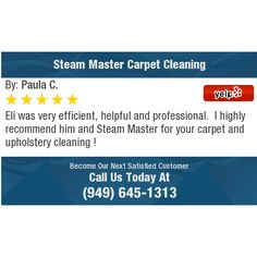 Eli was very efficient, helpful and professional. I highly recommend him and Steam...