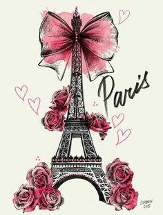 Lutheen Illustration - Draw - 'Roses for Paris'… Tour Eiffel, Paris Eiffel Tower, Cute Wallpapers, Wallpaper Backgrounds, Iphone Wallpaper, Girly Wallpapers For Iphone, Paris Kunst, Decoupage, I Love Paris