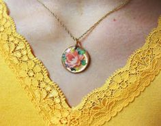 Pretty decal pendant made from a penny & Amazing Glaze embossing powder - simple & fast  #handmade #jewelry #pendant