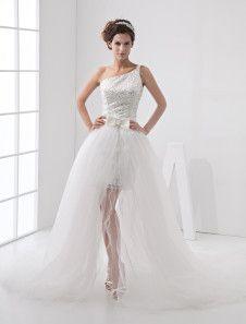 Blanco vestido de boda vestido de bola elegante un hombro encaje Organza mujer