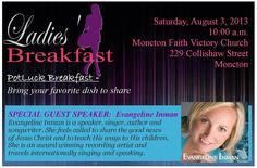Please join us this Saturday, August at for food, fun, and fellowship as we welcome Evangeline Inman as our Special Guest Speaker! Ladies please bring breakfast foods and a friend :) Guest Speakers, Special Guest, Good News, Special Events, Jesus Christ, Bring It On, Join, Author, Faith