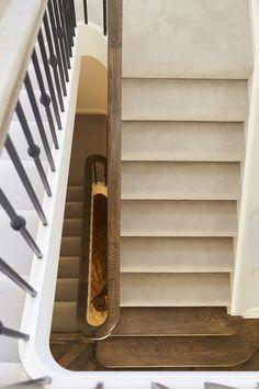 Traditional Stair | Staircase | Carpet | American Oak | Bullnoses | Handrail | Steel Balustrade | Scrolls | Herringbone Floorboards | Interior Design