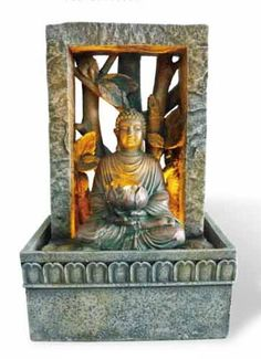 Meditating Buddha Tabletop Fountain with LED Light