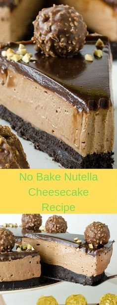No Bake Nutella Cheesecake Recipe #cheesecake  #cheesecakerecipes