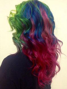 #rainbow #hair #pretty #colourful #want #love