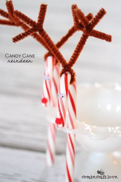 Candy Cane Crafts | These Candy Cane Reindeer are super easy to make and perfect for classroom Christmas parties! via createcraftlove.com for TodaysCreativeLife.com Creative Girls Holiday Soiree.