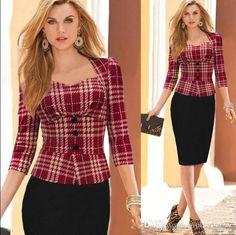 2015 Women Autumn Elegant Vintage Long Sleeve Cotton Stretch Peplum Office Wear To Work Party Pencil Sheath Dresses China wear black blazer