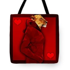 Queen of Hearts Lioness Red Tote Bag by Filip Aleksandrov