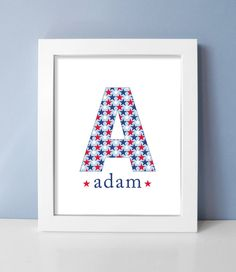 Red White and Blue Baby Boy Nursery Art Monogram by DaphneGraphics, $15.00