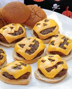 Ten Halloween Party Food Ideas - Cheeseburger Jack-o-Lanterns #PreppyPlanner